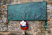 Wreath on 1982 Liberation Memorial at Port Stanley, Falkland Islands