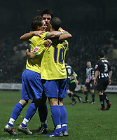 Photo: Paul Thomas.<br /> Notts County v Hereford United. Coca Cola League 2. 22/12/2006.<br /> <br /> Hereford celebrate the goal from Tim Sills (C) which was set up by Stuart Fleetwood (10).