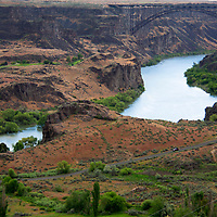 USA, Idaho, Twin Falls. Snake River Canyon Gorge and Perrine Bridge.