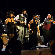 """""""Honeychild"""", """"Silky"""", """"Lady Creole"""", """"Babyface"""" and """"Big Daddy"""" perform with Vaud and the Villains at The Music Hall in Portsmouth, NH. July 2012."""