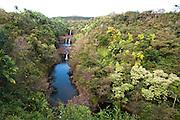Umauma Falls on the east side of the Big Island of Hawaii offers a triple tier waterfall.