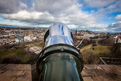 Edinburgh seen from the barrel of The One O'Clock Gun on the Edinburgh Castle Esplanade.