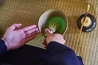 Japon, île de Honshu, région de Kansaï, Kyoto, cérémonie du thé avec Mr Amae Dairik, thé Matcha // Japan, Honshu island, Kansai region, Kyoto, tea ceremony with Mr Amae Dairik, matcha tea