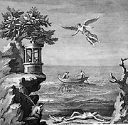 Death of Icaros. According to legend, in order to escape from Crete, Daedalus made wings of wax and feathers for himself and his son, but Icaros flew too near the Sun and his wings melted and he fell to his death 18th century engraving after wall painting