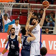 Anadolu Efes's Deniz Kilicli (R) during their Turkish Basketball League Play Off round 3 match Anadolu Efes between Turk Telekom at Abdi Ipekci Arena in Istanbul Turkey on Tuesday 26 May 2015. Photo by Aykut AKICI/TURKPIX