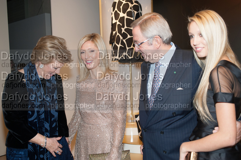 QOUEEN ANNE-MARIE OF GREECE;  PRINCESS MARIA CHANTAL OF GREECE; PRINCESS MARIE OLYMPIA OF GREECE; KING CONSTANTINE OF GREECE, Valentino: Master of Couture - private view. Somerset House, London. 28 November 2012