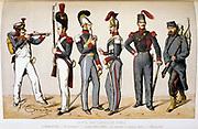Memberes of the Parisian National Guard. 1869.  'From Histoire des corps de troupes de la ville de Paris' by Francois Cudet, Paris, 1897. Chromolithograph.