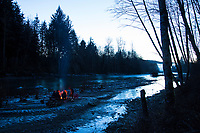 Camping along the Bogachiel River Olympic Peninsula, WA.