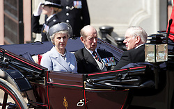The Duchess of Gloucester (left, The Duke of Kent (centre) and The Duke of Gloucester (right) make their way down The Mall from Buckingham Palace, central London to Horse Guards Parade for the Trooping the Colour ceremony as the Queen celebrates her official birthday today.