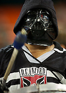 A D.C. United fan wearing a Darth Vader mask supports his team during their 2-0 loss to the visiting San Jose Earthquakes at RFK Stadium in Washington D.C.