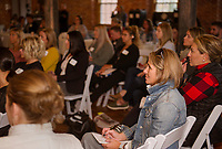 Audience members at Belknap Mill Friday for a one-day business strategy workshop with JMG Marketing / CEO Live.  (Karen Bobotas/for the Laconia Daily Sun)