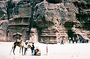 Tourists at the archaeological site at Petra, Jordan in 1998