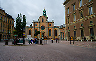 Stockholm, Sweden -- July 16, 2019. Wide-angle photo of the Church of St. Nicholaus, informally known as the Stockholm Cathedral.