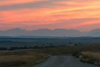 I came to central Montana because it had the best chance of clear skies this night. But the clouds didn't clear out until after dark, which was fine with me since it led to an amazing sunset. The Crazy Mountains can be seen in the distance.