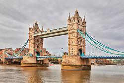 Tower Bridge over river, London, England, UK
