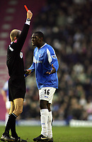 Emile Heskey is shown the Red Card by Referee Mike Riley<br /> Arsenal 2005/06<br /> Birmingham City V Arsenal 04/02/06 at St' Andrews<br /> The Premier League<br /> Photo Robin Parker Digitalsport
