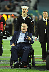 George HW Bush and Barbara Bush attend Super Bowl LI at the NRG Stadium in Houston, TX, USA, on February 5, 2017. Photo by Lionel Hahn/ABACAPRESS.COM