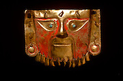 PERU, PRECOLUMBIAN GOLD Chimu; mask with feline features