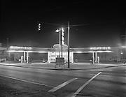 "Ackroyd 03928-1. ""Richfield. night photo station at 39th & Belmont. Johnson's Richfield. October 10, 1952"" (4x5"")"
