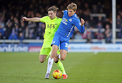 Martin Samuelsen of Peterborough United battles for possession with Southend United's Ryan Leonard - Mandatory byline: Joe Dent/JMP - 16/01/2016 - FOOTBALL - ABAX Stadium - Peterborough, England - Peterborough United v Southend United - Sky Bet League One