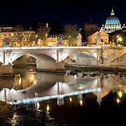 ROME, Italy - Rome cityscape reflected on Tiber in Rome, Italy.