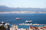 Merchant ships at moorings, Bay of Algeciras, Gibraltar, British overseas territory in southern Europe