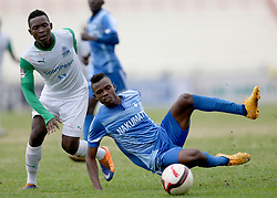 George Odhiambo of Gor Mahia tackles Nicholas Meja of Nakumatt FC during their Sportpesa Premier League tie at Nyayo Stadium in Nairobi on August, 2, 2017. Gor won 1-0. Photo/Fredrick Omondi/www.pic-centre.com(KENYA)