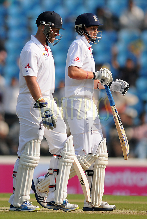 Matt Prior of England and Joe Root of England  during day two of the 4th Airtel Test Match between India and England held at VCA ground in Nagpur on the 14th December 2012..Photo by  Pal Pillai/BCCI/SPORTZPICS .