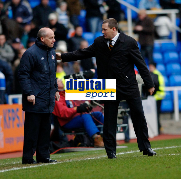 Photo: Daniel Hambury.<br /> Reading v Watford. Coca Cola Championship. 11/03/2006.<br /> Watford's manager Adrian Boothroyd (R) and Reading manager Steve Coppell at the end of the game.