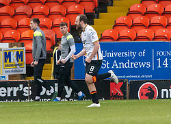 Partick Thistle's Stuart Bannigan cele scoring their penalty. Dundee United 1 v 1 Partick Thistle, Scottish Championship game played 7/3/2020 at Dundee United's stadium Tannadice Park.