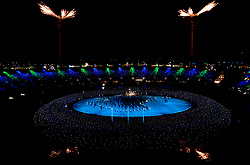 A general view of the atmosphere within the stadium during the Opening Ceremony for the 2018 Commonwealth Games at the Carrara Stadium in the Gold Coast, Australia.