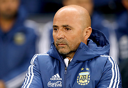 Argentina manager Jorge Sampaoli during the international friendly match at the Eithad Stadium, Manchester.