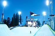 Anais Caradeux during Women's Ski Superpipe Practice at 2014 X Games Aspen at Buttermilk Mountain in Aspen, CO. ©Brett Wilhelm/ESPN