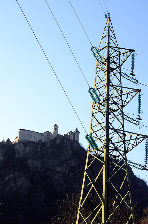 Powerlines below the Saben Abbey in Chiusa/Klausen, Italy.