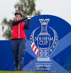 Auchterarder, Scotland, UK. 12 September 2019. Final practice day at 2019 Solheim Cup on Centenary Course at Gleneagles. Pictured; Jessica Korda drives on 6th. hole Iain Masterton/Alamy Live News
