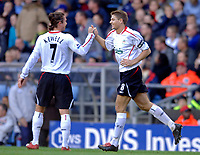Photo: Glyn Thomas.<br />Aston Villa v Liverpool. The Barclays Premiership. <br />05/11/2005.<br />Liverpool's Steven Gerrard (R) is congratulated by Harry Kewell after scoring from the penalty spot.