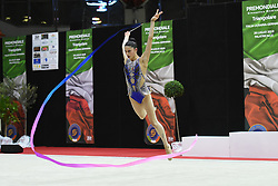 July 28, 2018 - Chieti, Abruzzo, Italy - Rhythmic gymnast Milena Baldassarri of Italy performs her ribbon routine during the Rhythmic Gymnastics pre World Championship Italy-Ukraine-Germany at Palatricalle on 29th of July 2018 in Chieti Italy. (Credit Image: © Franco Romano/NurPhoto via ZUMA Press)