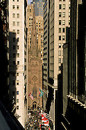 New York. elevated view on Trinity church and Wall street view from the terrace of the hotel Regent wall street New York  Usa   /  Trinity church et wall street vue depuis la terrasse de l'hotel Regent wall street  New York  Usa