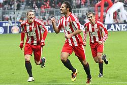 11.12.2010, Allianz Arena, Muenchen, GER, 1.FBL, FC Bayern Muenchen vs  FC St. Pauli, im Bild Jubel nach dem 1-0 Bastian Schweinsteiger (Bayern #31) Torschuetze Hamit Altintop (Bayern #8) und Philipp Lahm (Bayern #21)  , EXPA Pictures © 2010, PhotoCredit: EXPA/ nph/  Straubmeier       ****** out ouf GER ******