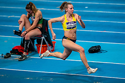 Marijke Esselink in action on long jump during the Dutch Athletics Championships on 14 February 2021 in Apeldoorn