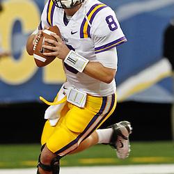 Dec 3, 2011; Atlanta, GA, USA; LSU Tigers quarterback Zach Mettenberger (8) prior to kickoff of the 2011 SEC championship game against the Georgia Bulldogs at the Georgia Dome.  Mandatory Credit: Derick E. Hingle-US PRESSWIRE