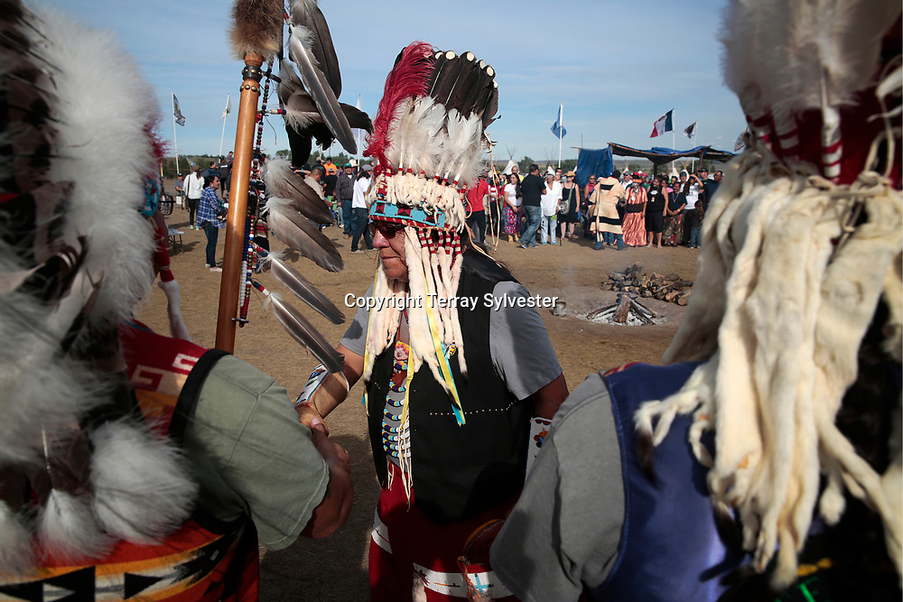 Members of the Blackfeet Tribe of Montana are welcomed into the opposition camp against the Dakota Access oil pipeline on September 10, 2016. Cannon Ball, North Dakota, United States.