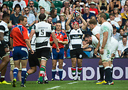 Twickenham, Surrey, United Kingdom.  Hooker, Schalk BRITS, throwing in, during the, Old Mutual Wealth Cup, England vs Barbarian's match, played at the  RFU. Twickenham Stadium, on Sunday   28/05/2017England    <br /> <br /> [Mandatory Credit Peter SPURRIER/Intersport Images]