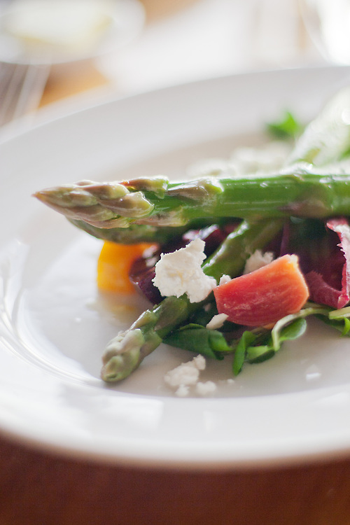 Grilled Zuckerman's Farm asparagus with golden and chioggia beets, Andante Dairy fresh goat cheese, watercress, red endive, meyer lemon vinaigrette: Greens Restaurant, San Francisco, CA