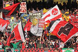 23.10.2010, easyCredit-Stadion, Nuernberg, GER, 1.FBL,  1. FC Nürnberg vs VfL Wolfsburg, im Bild Fahnenmeer in der Nuernberger Nordkurve    EXPA Pictures © 2010, PhotoCredit: EXPA/ nph/  Becher+++++ ATTENTION - OUT OF GER +++++