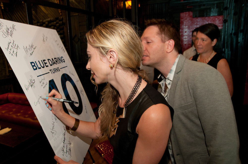 Friends and partners of Chicago's Blue Daring, Inc. celebrate the company's tenth anniversary during a cocktail reception at Hubbard Inn on Thursday, August 1st, 2013. The business strategy and communication firm was founded by entrepreneur Melissa Ballate in 2003. © 2013 Brian J. Morowczynski ViaPhotos