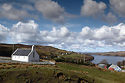 A picturesque church in the village of Carbost, near the Talisker whisky distillery, in western Skye, Scotland