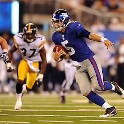 21 Aug, 2010: New York Giants quarterback Rhett Bomar (5) scrambles during second half NFL preseason action between the New York Giants and Pittsburgh Steelers at New Meadowlands Stadium in East Rutherford, New Jersey. The Steelers beat the Giants 24-17.