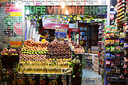 Grocers shop supermarket selling fresh produce local fruit and vegetables in Istanbul, Republic of Turkey