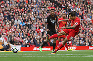 Philippe Coutinho of Liverpool FC shoots wide of goal. Premier League match, Liverpool v Hull City at the Anfield stadium in Liverpool, Merseyside on Saturday 24th September 2016.<br /> pic by Chris Stading, Andrew Orchard sports photography.